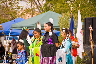 Photo taken at Tule River 2007 Pow Wow on September 22, 2007 at McCarthy Ranch, Porterville, CA. Introduction of Tule River Pow Wow Princess Contest contestants. From left: Shy-La Brook Franco, Alicia Lopez Hunter, Valerie Williams, Weliyah Baga.