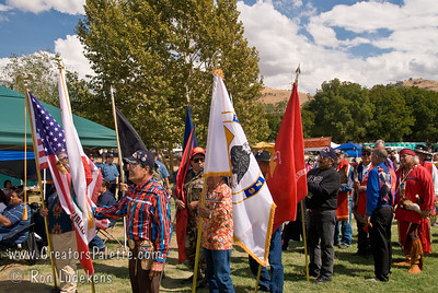 Photo taken at Tule River 2007 Pow Wow on September 22, 2007 at McCarthy Ranch, Porterville, CA. Color Guard - Native Warriors Amvets lining up for Grand Entrance