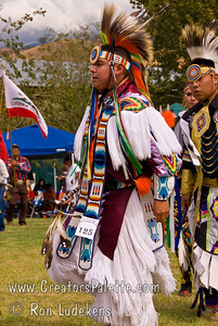 Photo taken at Tule River 2007 Pow Wow on September 22, 2007 at McCarthy Ranch, Porterville, CA.  Dancers in Grand Entrance Parade.  Martin Montgomery #125