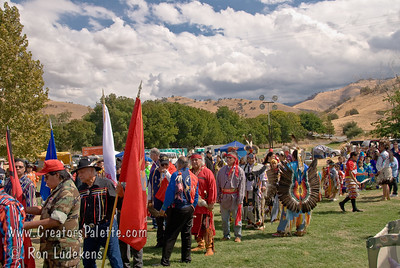 Photo taken at Tule River 2007 Pow Wow on September 22, 2007 at McCarthy Ranch, Porterville, CA.  Lining up for Grand Entrance