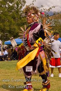 Photo taken at Tule River 2007 Pow Wow on September 22, 2007 at McCarthy Ranch, Porterville, CA. Dancers in Grand Entrance Parade. Dan Nanamkin #164.