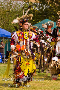 Photo taken at Tule River 2007 Pow Wow on September 22, 2007 at McCarthy Ranch, Porterville, CA.  Dancers (Montee) in Grand Entrance Parade.