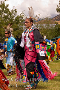 Photo taken at Tule River 2007 Pow Wow on September 22, 2007 at McCarthy Ranch, Porterville, CA. Dancers in Grand Entrance Parade.  Jetta Wood #202