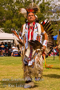 Photo taken at Tule River 2007 Pow Wow on September 22, 2007 at McCarthy Ranch, Porterville, CA.  Dancers (Darrel) in Grand Entrance Parade.