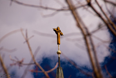 Cross on top of steeple of First Presbyterian Church - Visalia, CA