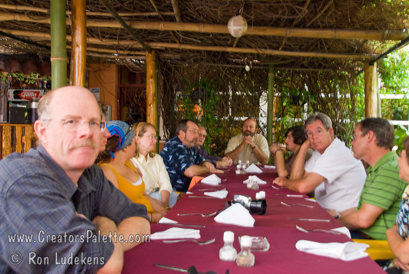 Guatemala Mission Trip - Day 3 -  Sunday, November 11, 2007<br /> Team members eating lunch at the Bistro restarant.