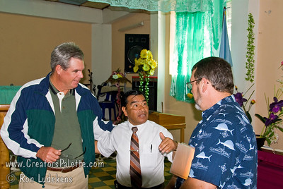 Guatemala Mission Trip - Day 3 -  Sunday, November 11, 2007  David Nash and Johnny Coker talking to Pastor Juan Sienes after the service.