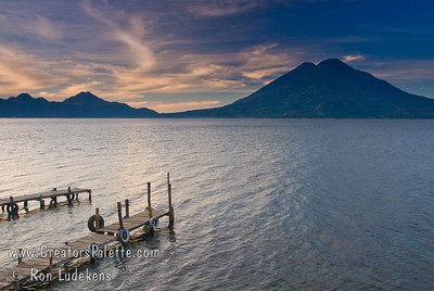Guatemala Mission Trip - Day 3 -  Sunday, November 11, 2007 Sunrise along shore of Lake Atitlan in Panajachel.   Two volcanoes - Toliman in front with Atitlan behind it.