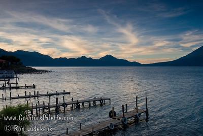 Guatemala Mission Trip - Day 3 -  Sunday, November 11, 2007 Sunrise along shore of Lake Atitlan in Panajachel.
