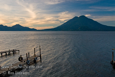 Guatemala Mission Trip - Day 3 -  Sunday, November 11, 2007 Sunrise along shore of Lake Atitlan in Panajachel.   Two volcanoes - Toliman in front with Atitlan behind it.