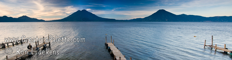 Guatemala Mission Trip - Day 3 -  Sunday, November 11, 2007 Sunrise along shore of Lake Atitlan in Panajachel.   San Pedro Volcano across the lake.