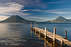 Guatemala Mission Trip - Day 4 - Monday, November 12, 2007<br /> Sunrise and early morning photo of Lake Atitlan at Panajachel.  Holiman Volcano with Atitlan Volcano behind it on left and San Pedro Volcano on right.