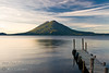 Guatemala Mission Trip - Day 4 - Monday, November 12, 2007<br /> Sunrise and early morning photo of Lake Atitlan at Panajachel.  Holiman Volcano with Atitlan Volcano behind it.