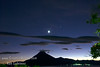 Guatemala Mission Trip - Day 4 - Monday, November 12, 2007<br /> Sunset with moon and star over Lake Atitlan seen from our compound at Buenas-Nuevas in Panajachel, Guatemala.  San Pedro Volcano and city of San Pedro on far side of lake.