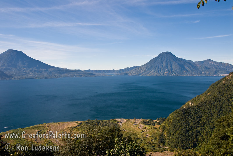 Guatemala Mission Trip - Day 4 - Monday, November 12, 2007<br /> We stopped at a lookout above Panajachel to view Lake Atitlan and surrounding volcanoes.  Holiman Volcano at left, San Pedro Volcano at right.