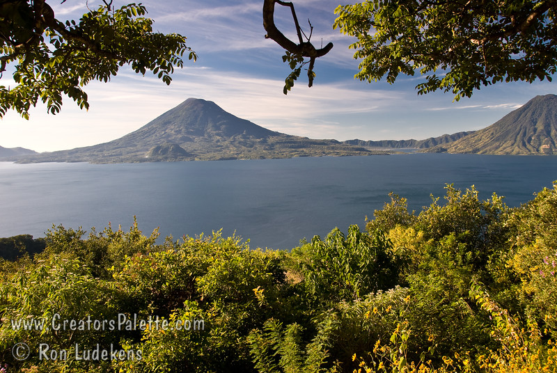 Guatemala Mission Trip - Day 4 - Monday, November 12, 2007<br /> We stopped at a lookout above Panajachel to view Lake Atitlan and surrounding volcanoes.  Toliman Volcano at left, San Pedro Volcano at right.