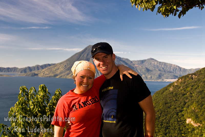 Guatemala Mission Trip - Day 4 - Monday, November 12, 2007<br /> We stopped at a lookout above Panajachel to view Lake Atitlan and surrounding volcanoes.  Colette and Tanner with San Pedro Volcano behind them.