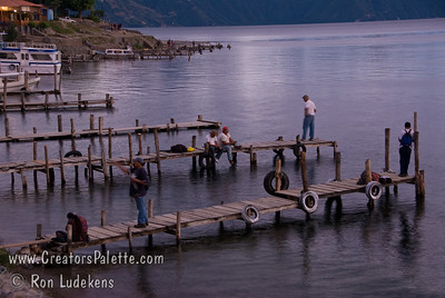 Guatemala Mission Trip - Day 5 -  Tuesday, November 13, 2007  Fishermen on docks at sunset over Lake Atitlan in Panajachel, Guatemala.