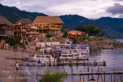 Guatemala Mission Trip - Day 5 -  Tuesday, November 13, 2007 Local resorts and restaurants along shore of Lake Atitlan in Panajachel Guatemala at sunset.