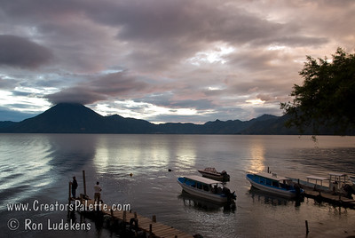 Guatemala Mission Trip - Day 5 -  Tuesday, November 13, 2007 Sunset over Lake Atitlan from Panajachel, Guatemala.   San Pedro Volcano on far shore.