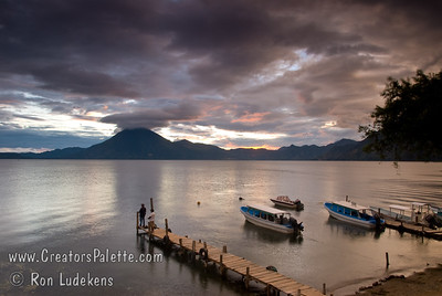Guatemala Mission Trip - Day 5 -  Tuesday, November 13, 2007 Sunset over Lake Atitlan from Panajachel, Guatemala.   San Pedro Volcano at far shore.