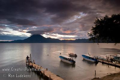 Guatemala Mission Trip - Day 5 -  Tuesday, November 13, 2007 Sunset over Lake Atitlan from Panajachel, Guatemala.   San Pedro Volcano at far shore.