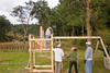 Guatemala Mission Trip - Day 5 -  Tuesday, November 13, 2007<br /> Installing the legs and beam for the swings.  Of course the bolts are too short to go through the fully dimensional wood - so had to countersink it.