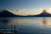 Guatemala Mission Trip - Day 6 - Wednesday, November 14, 2007<br /> Sunset over Lake Atitlan from Panajachel, Guatemala.   San Pedro Volcano on right and Toliman Volcano on left with Atitlan Volcano behind it.