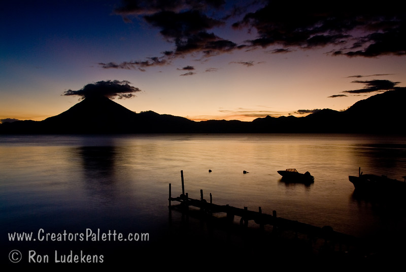 Guatemala Mission Trip - Day 6 - Wednesday, November 14, 2007<br /> Sunset over Lake Atitlan from Panajachel, Guatemala.    San Pedro Volcano on right with interesting cloud.