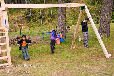 Guatemala Mission Trip - Day 6 - Wednesday, November 14, 2007 Time to play on the playground equipment.  Local children (from family with cow) helped break it in.
