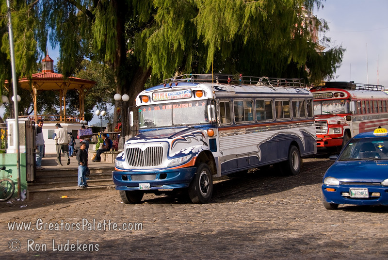 Guatemala Mission Trip - Day 7 - Thursday, November 15, 2007 <br /> Line of Chicken Busses by market place in Solola.