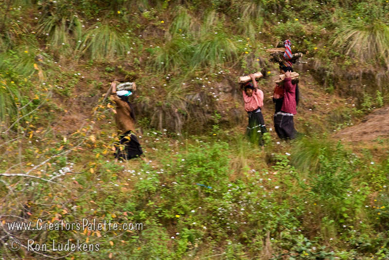 Guatemala Mission Trip - Day 7 - Thursday, November 15, 2007.  Dedication Day.<br /> More local ladies carrying their load on steep trail across the creek.