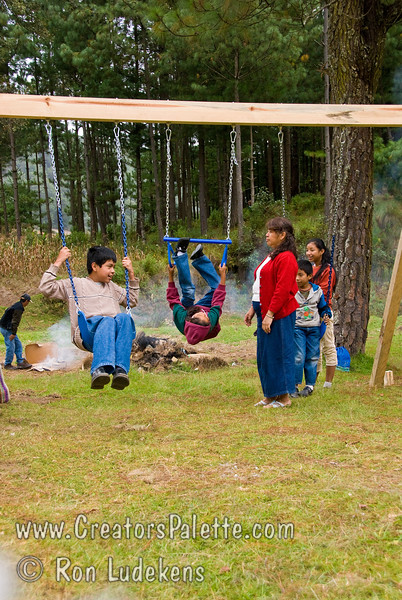 Guatemala Mission Trip - Day 7 - Thursday, November 15, 2007.  Dedication Day.<br /> The early arrivals from pastor's families already found the playgound equipment.