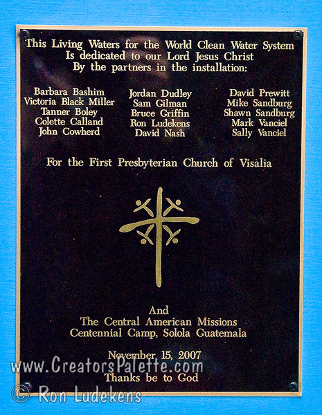 Guatemala Mission Trip - Day 7 - Thursday, November 15, 2007.  Dedication Day.<br /> Close up of the dedication plaque.