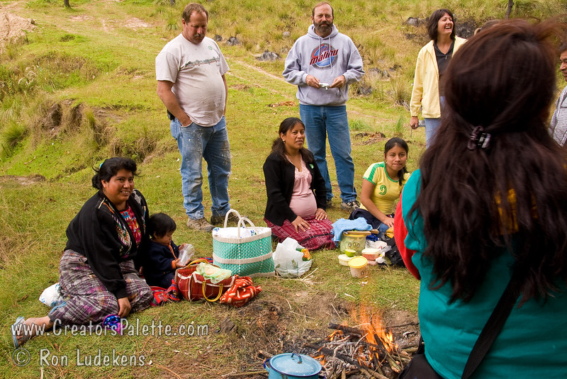 Guatemala Mission Trip - Day 7 - Thursday, November 15, 2007.  Dedication Day.<br /> Interacting with family around their cooking fire.