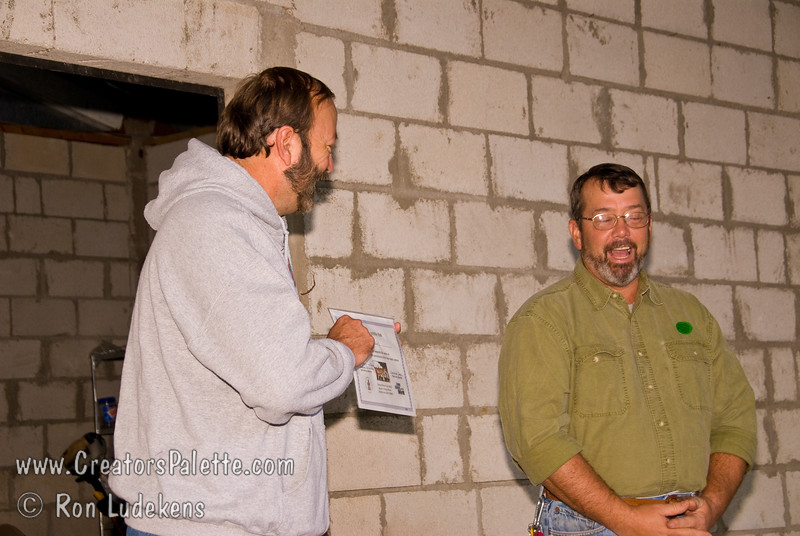 Guatemala Mission Trip - Day 7 - Thursday, November 15, 2007.  Dedication Day. <br /> Mark presenting a Certificate to Johnny upon his completion of operator training on the clean water system.