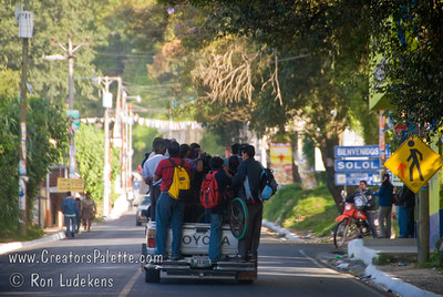 Guatemala Mission Trip - Day 7 - Thursday, November 15, 2007 Typical mode of transportation in the back of a pickup truck.  Seen in Solola Guatemala.