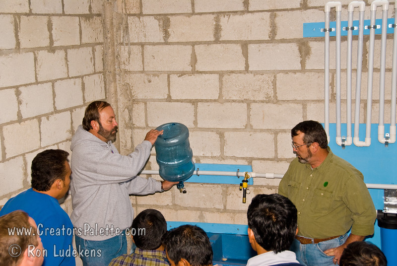 Guatemala Mission Trip - Day 7 - Thursday, November 15, 2007.  Dedication Day.<br /> Full demonstration of Clean Water System to second of three groups.  This group asked more questions - getting into details of how to run it.