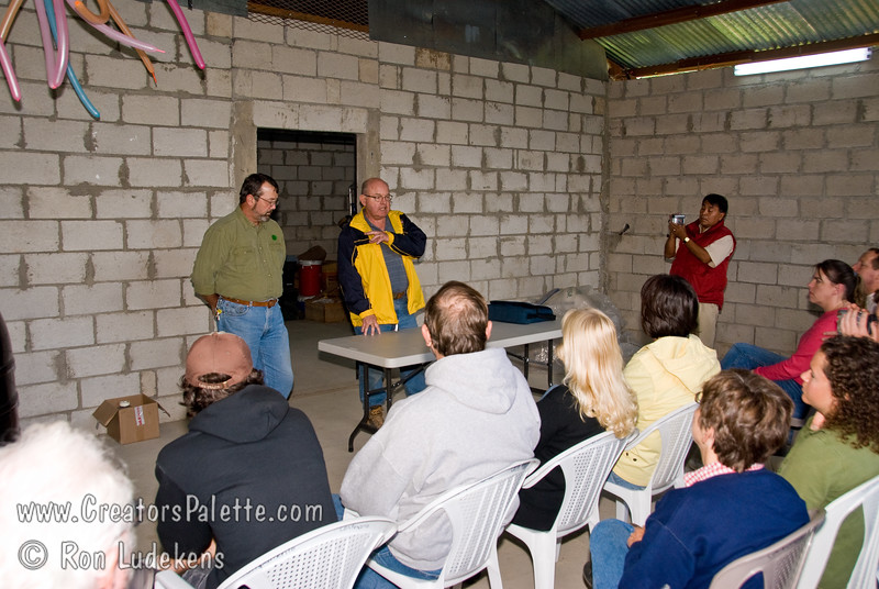 Guatemala Mission Trip - Day 7 - Thursday, November 15, 2007.  Dedication Day.<br /> Sam Gilman explaining the water samples, the importance of clean water and the covenant to enter into to start a project at their location.
