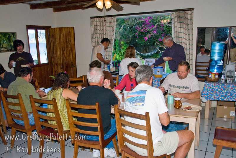 Guatemala Mission Trip - Day 7 - Thursday, November 15, 2007<br /> Team members eating another delicious breakfast at our compound at Buenas-Nuevas.   Thank you Maria!