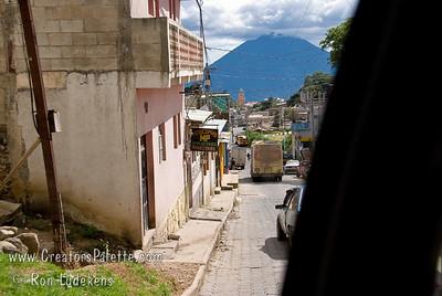 Guatemala Mission Trip - Day 7 - Thursday, November 15, 2007 Looking down narrow Solola street at volcano across lake