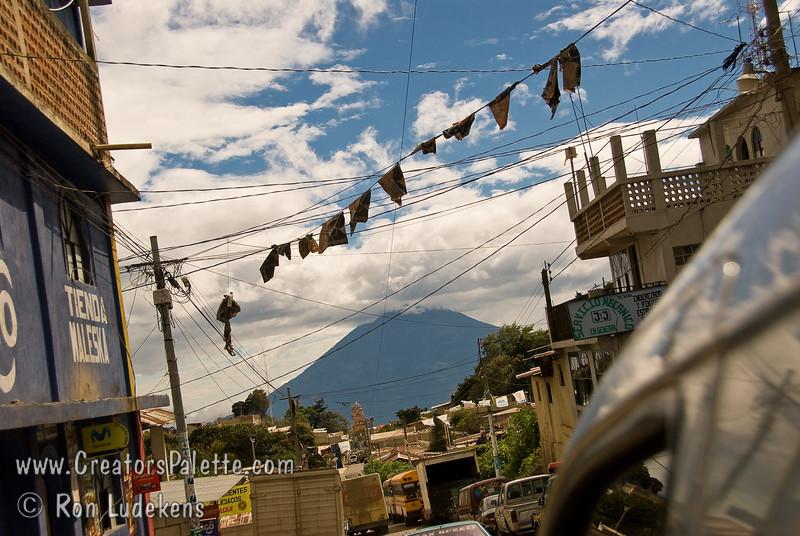 Guatemala Mission Trip - Day 7 - Thursday, November 15, 2007<br /> Looking down narrow Solola street at volcano across lake