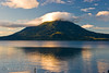 Guatemala Mission Trip - Day 7 - Thursday, November 15, 2007<br /> Sunrise on Lake Atitlan in Panajachel, Guatemala.   Toliman Volcano with Atitlan Volcano behind it