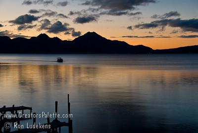 Guatemala Mission Trip - Day 7 - Thursday, November 15, 2007 Sunrise on Lake Atitlan in Panajachel, Guatemala.