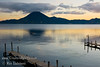 Guatemala Mission Trip - Day 7 - Thursday, November 15, 2007<br /> Sunrise on Lake Atitlan in Panajachel, Guatemala.   San Pedro Volcano on far shore.