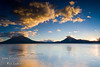 Guatemala Mission Trip - Day 7 - Thursday, November 15, 2007<br /> Sunset over Lake Atitlan from Panajachel, Guatemala.   Toliman Volcano with Atitlan Volcano behind it on left, San Pedro Volcano on right.