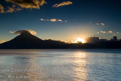 Guatemala Mission Trip - Day 7 - Thursday, November 15, 2007 Sunset over Lake Atitlan from Panajachel, Guatemala.
