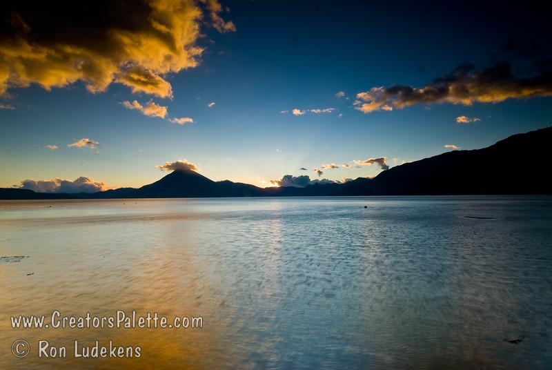 Guatemala Mission Trip - Day 7 - Thursday, November 15, 2007<br /> Sunset over Lake Atitlan from Panajachel, Guatemala.