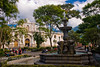 Guatemala Mission Trip - Day 8 - Friday, November 16, 2007<br /> Cathedral (Catedral)  in central Antigua Guatemala. Photo taken from Central Plaza.  Fountain and statue in foreground.