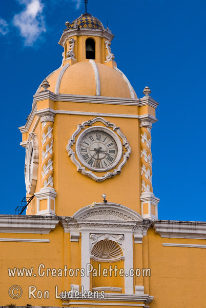 Guatemala Mission Trip - Day 8 - Friday, November 16, 2007<br /> Copola with Clock on top of Santa Catarina Arch.  Antigua Guatemala.